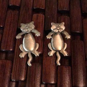Vintage Silver Pewter JJ Jonette 3D Cat Earrings